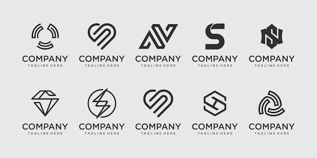 패션 스포츠 기술 사업을 위한 초기 문자 s ss 로고 아이콘 세트 디자인