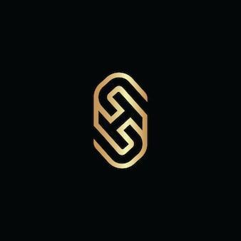 Initial letter sh line logo overlap design vector