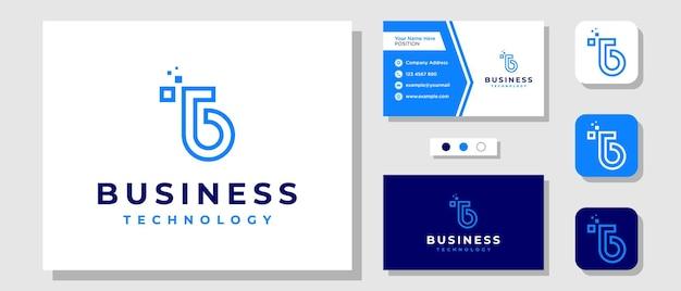 テンプレート名刺付きの頭文字tbモノグラムテクノロジーデジタルキャピタルロゴデザイン