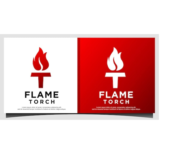 Initial letter t burning torch fire flame logo design