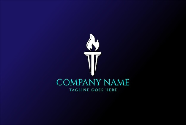 Initial letter t burning torch fire flame with pillar column logo design vector