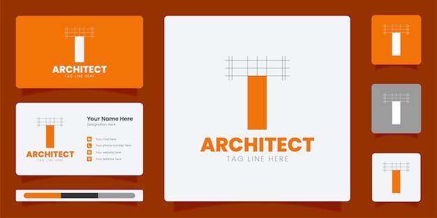 線画ロゴ付きの頭文字tロゴデザインアーキテクトモノグラム