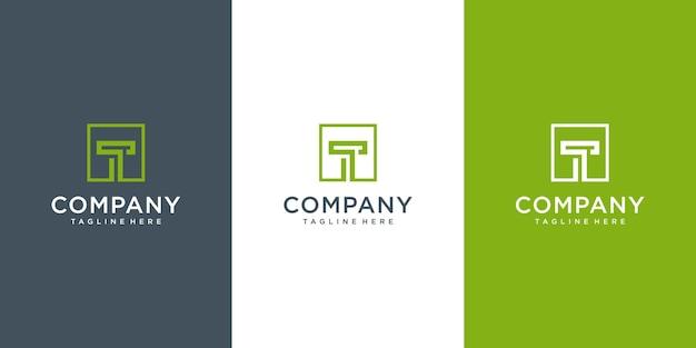 最初の文字tロゴデザインテンプレートロゴタイプの概念