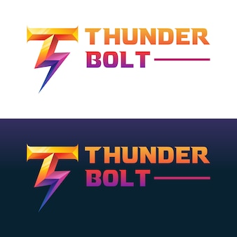Initial letter t with thunderbolt gradient logo,  template
