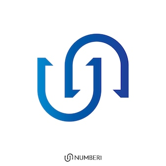 Initial letter u and n, or s and c logo with number 1 sign logo concept