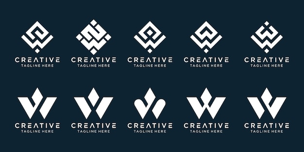 Initial letter w logo icon set design for business of digital sport technology automotive