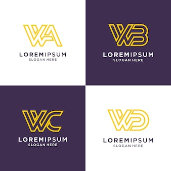 Initial letter w logo set inspiration for brand and business