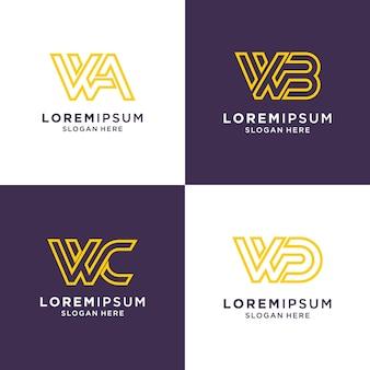 Начальная буква w логотип набор вдохновения для бренда и бизнеса