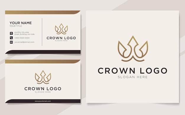 Буквица w с логотипом элемента короны и шаблоном визитной карточки