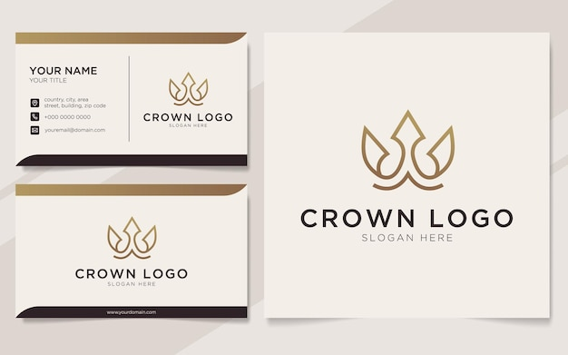 Initial letter w with crown element logo and business card template