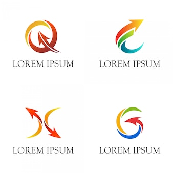 Initial letter with arrows business logo set