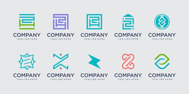 Initial letter z logo icon set design for business of fashion building technology