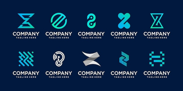 Initial letter z logo icon set design for business of fashion digital technology