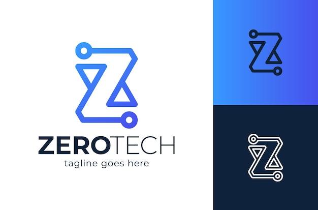 最初の文字ztechロゴデザイン要素。