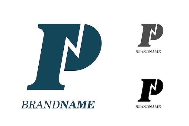 기술 비즈니스 id 로고 타입 개념을 위한 전기 번개가 있는 초기 문자 pn pn