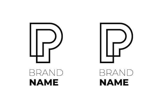 비즈니스 id 로고 타입 개념에 대한 초기 문자 pp 세트 회사에 대한 두 개의 결합된 p 선형 로고