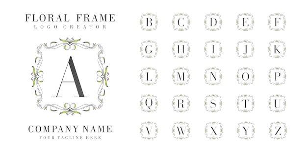 Initial logo monogram with floral ornaments