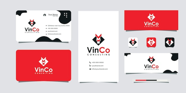 Initial logo v drink glass and business card