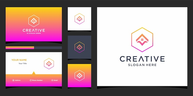 Initial a logo with business card template
