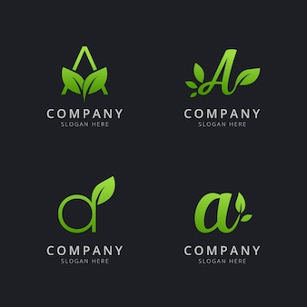 Initial a logo with leaf elements in green color
