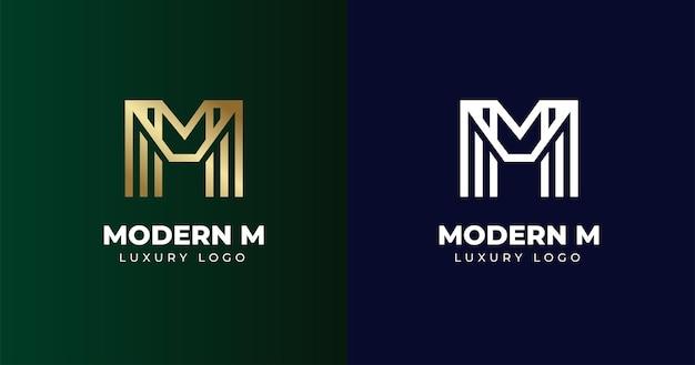 最初のm文字のロゴデザインテンプレート、ラインコンセプト