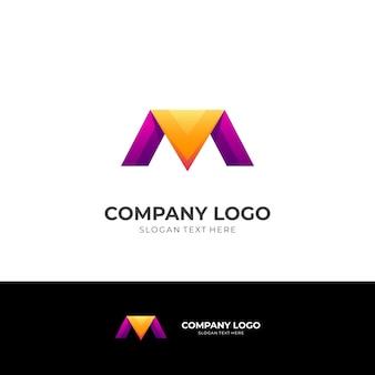 Первоначальный вектор дизайна логотипа m с цветным стилем 3d