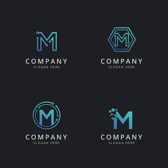 Initial m logo with technology elements in blue color
