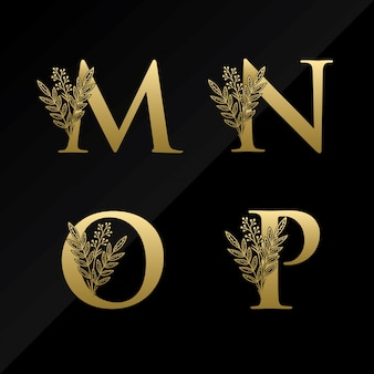 Initial m n o p letter logo with simple flower in gold color