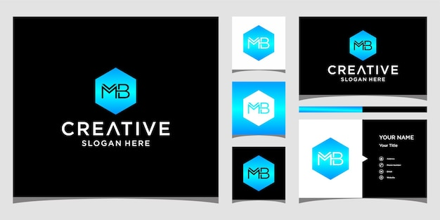 Initial mb logo with business card template