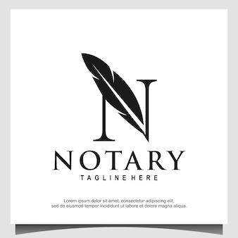 Initial monogram n for notary logo vector
