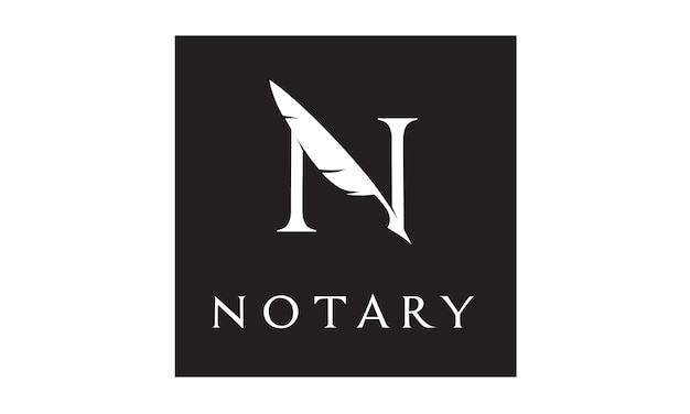 Initial / monogram n for notary logo