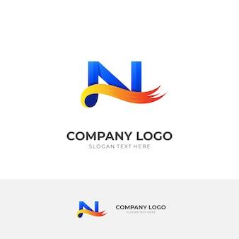 3dカラフルなスタイルの初期nロゴデザインコンセプトベクトル