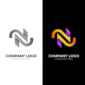 3dカラフルなスタイルの最初のnロゴデザインテンプレート