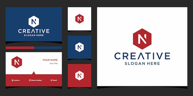 Initial n logo with business card template