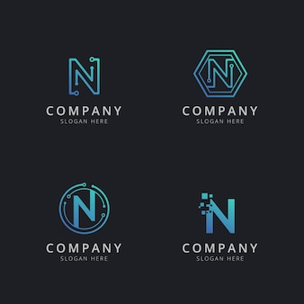 Initial n logo with technology elements in blue color