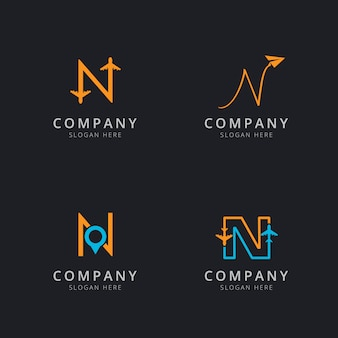 Initial n logo with travel elements in orange and blue color