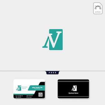 Initial n, nv logo template, free your business card design