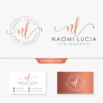 Initial nl feminine logo template and business card