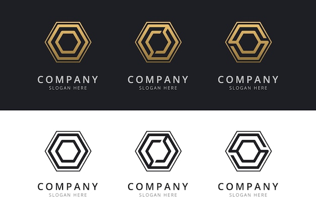 Initial o logo inside hexagon shape in gold and black color