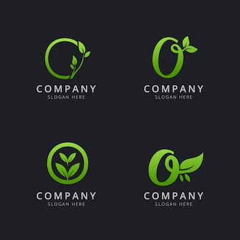Initial o logo with leaf elements in green color