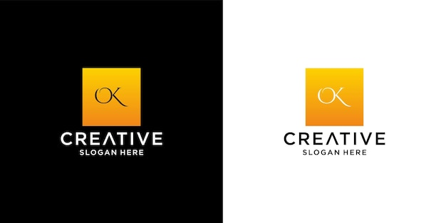 Initial ok logo with business card template