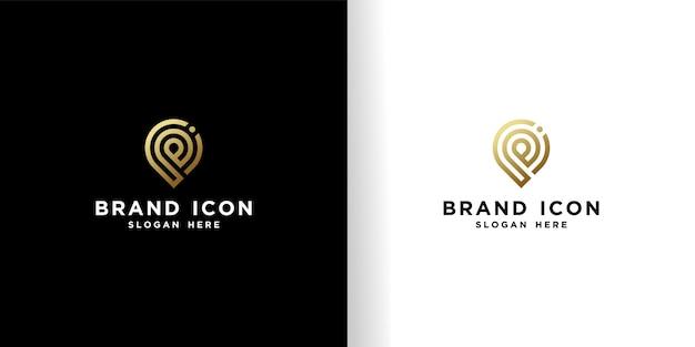 Initial pi locationロゴデザインの美しい黄金のテンプレート