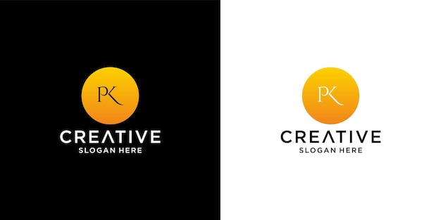 Initial pk logo with business card template