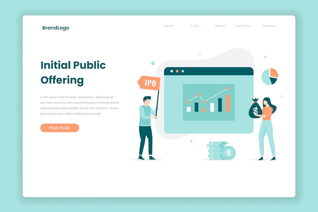 Initial public offering landing page concept. illustration for websites, landing pages, mobile applications, posters and banners.