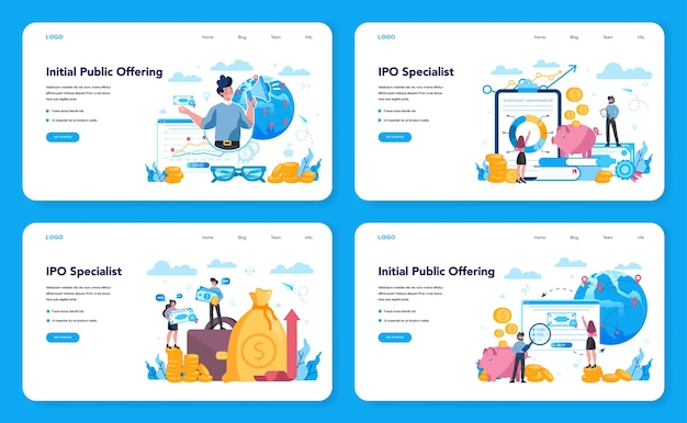 Initial public offerings specialist web banner or landing page set. ipo consultant. investing strategy. idea of money increase and finance growth. vector illustration in flat style