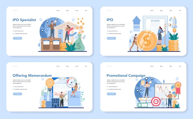 Initial public offerings specialist web banner or landing page set