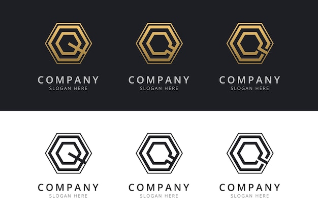Первоначальный логотип q внутри шестиугольника золотого и черного цвета