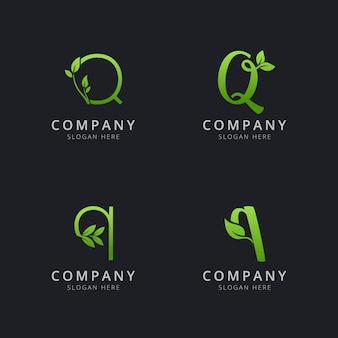 Начальный логотип q с листовыми элементами зеленого цвета