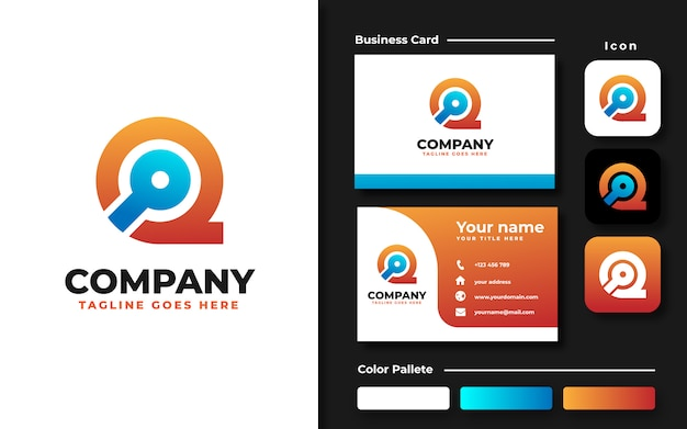 Initial q with search icon logo template and business card