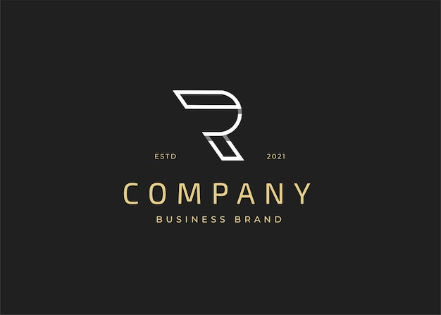 最初のr文字のロゴデザインテンプレート、ビンテージスタイル